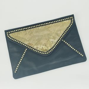 Streets Ahead Black Leather Gold Studded Clutch